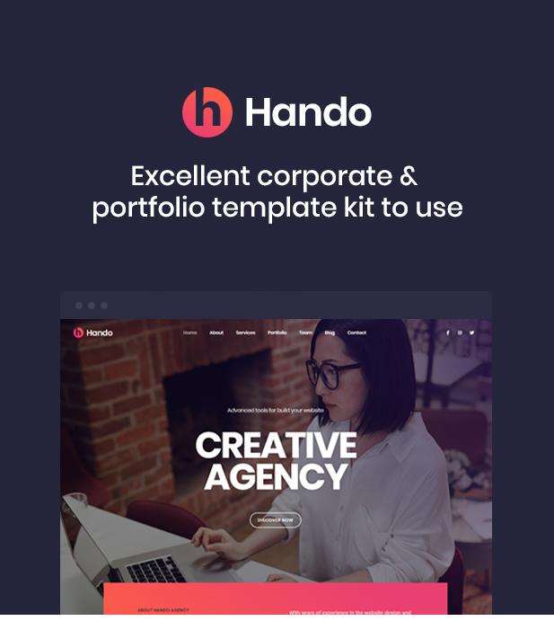 Hando - Corporate & Portfolio Elementor Template Kit - 1